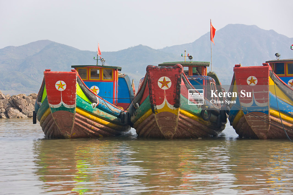 Fishing boats on the beach, East China Sea, Xiapu, Fujian, China