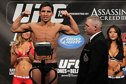 Toronto, Ontario, Canada - September 21, 2012: Joseph Benavidez weighs in for his fight against Demetrius Johnson at the UFC 152 weigh-ins at the Mattamy Athletic Centre at The Gardens in Toronto, Ontario, Canada.  The two will meet for the first-ever UFC Flyweight Championship.