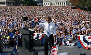 Oct 18, 2008 - St. Louis, Missouri, USA - Senator BARACK OBAMA speaks to a crowd of over 100,000 supporters and undecided voters gathered underneath the St. Louis Gateway Arch next to the Mississippi River in St. Louis, Missouri. Obama spoke about his plans to revitalize the economy and help the American worker..(Credit Image: © Patrick T Fallon)