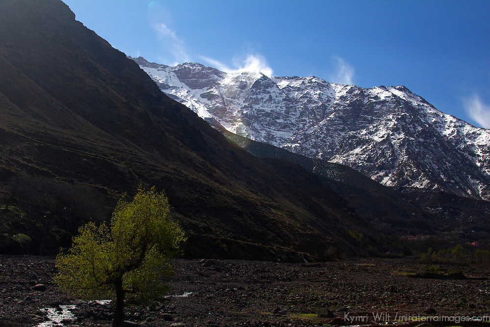 Africa, Morocco, Imlil. View of Jbel Toubkal, the highest peak in the Atlas Mountains.