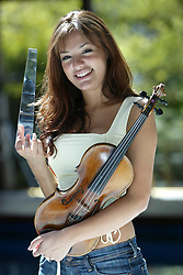 16 year old Nicola Bendetti wins the BBC Young Musician of the Year in 2004. Pictured at home in West Kilbride, 3/05/2004..Pic ©2010 Michael Schofield. All Rights Reserved..