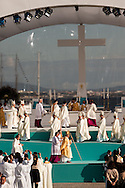 Pope Benedict XVI during the Mass celebrated for thousands of people on the most important square in the country. The pope is on a four-day visit to Portugal, one of the countries with the highest percentage of Catholics in Europe, Lisbon, Portugal.