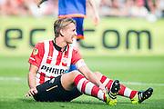 EINDHOVEN - PSV - Feyenoord , Voetbal , Seizoen 2015/2016 , Eredivisie , Philips Stadion , 30-08-2015 , PSV speler Luuk de Jong zit op de grond teleurgesteld na gemiste kans