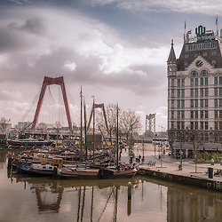Oudehaven in the centre of Rotterdam which is a city defined by modern architecture. Vintage style.