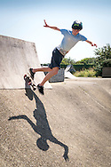 A Skateboarder at The Rom Skatepark, Hornchurch, Essex, Britain - Jul 2014.