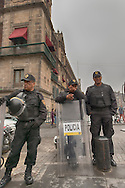 With the amount of pedestrian traffic that travels through the Zocalo there is no question why the police always wear their riot gear; ready at a moments notice if necessary.