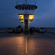 "The ferry ""Surry"" at dusk. The Jamestown-Scotland Ferry across the James River, Virginia is operated by VDOT."