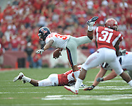 Ole Miss running back Brandon Bolden (34) is tackled at Reynolds Razorback Stadium in Fayetteville, Ark. on Saturday, October 23, 2010.