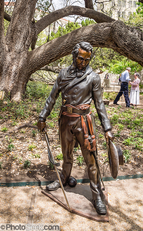 """Colonel Travis - the Line"" statue by James Nathan Muir, on loan at the Alamo in 2014, San Antonio, Texas, USA. ""To each of us comes a time for the courage to take a stand - to draw 'The Line'."" The Alamo Mission in San Antonio (or ""The Alamo"") was originally known as Mission San Antonio de Valero, a former Roman Catholic mission and fortress compound, and the site of the Battle of the Alamo in 1836. It is now a museum in the Alamo Plaza District of Downtown San Antonio, Texas, USA."