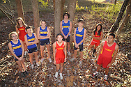 Cross Country runners who earned all-state recognition this season are (l. to r.) Oxford's Emily Hankins, Lafayette's Rachel Starnes, Oxford's Audrey Dayan and Callie Mayo, Lafayette's Manon Mullen, Oxford's Fischer Austin and Lucian Duchaine, and Lafayette's Esmeralda Rodriguez and Jose Rodriguez. They were photographed in Oxford, Miss. on Wednesday, December 1, 2010.