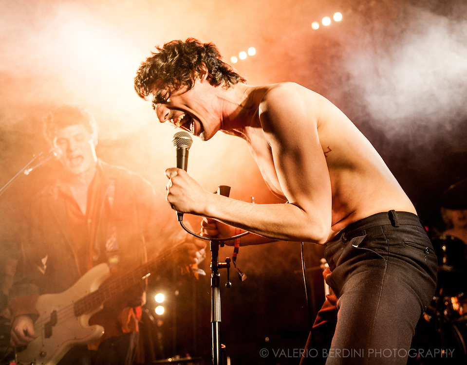 Lias Saudi of Fat White Family closing Field Day Festival in London day one on 7 June 2014