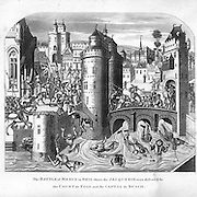 """woodcut circa 1350: """" The Battle of Meux (Meaux)in Brie where the Jacquerie (The peasants revolt, called Jacquerie,) were defeated by the Count de Foix and the Captal de Busch.  The dead and wounded are swept away in the river below the castle walls. From  """"Chronicles of England""""  by Froissart; English History 1326-1400. 100 Years War. From  """"Chronicles of England"""" by Froissart"""