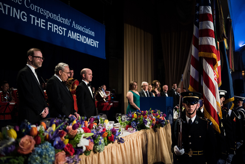 A military color guard arrives at the start of the White House Correspondents' Dinner in Washington, D.C. on April 29, 2017. CREDIT: Mark Kauzlarich for CNN