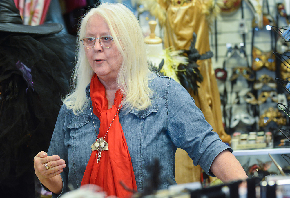 mkb030917/metro/Marla Brose  --  Susan Ricker, owner of Off Broadway, a Nob Hill vintage and costume boutique, talks about ART construction on Central Ave., Thursday, March 9, 2017. (Marla Brose/Albuquerque Journal)