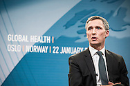 Norwegian PM Jens Stoltenberg during discussion about international health with Bill Gates at Astrup Fearnley Museum in Oslo.