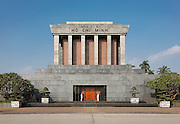 "Facade of the Ho Chi Minh Mausoleum ""Ch? t?ch H? Chí Minh"" inscribed across it, meaning ""President Ho Chi Minh"" , Ba Dinh Square Hanoi, Vietnam"