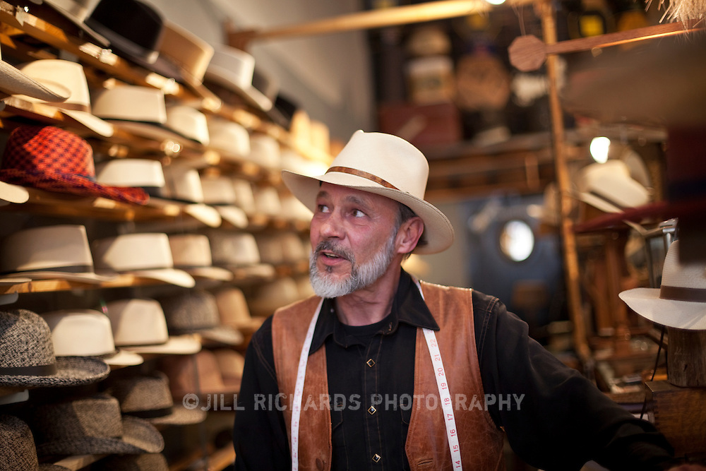 Master milliner S. Grant Sergot of Optimo Hatworks located on Main Street in Bisbee, AZ.