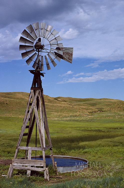 Windmill and cattle tank, Nebraska Sandhills