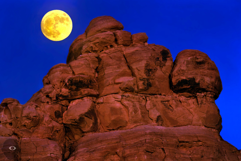 A Supermoon rises at Valley of Fire State Park about one of the Seven Sisters rock formations on Sunday, Nov. 13, 2016. L.E. Baskow