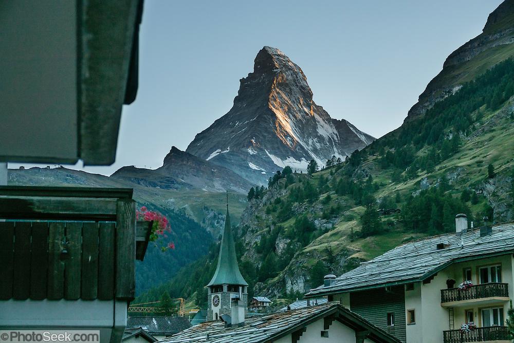 Sunset on the Matterhorn, seen from City Hotel Garni Zermatt, Pennine Alps, Switzerland, Europe.