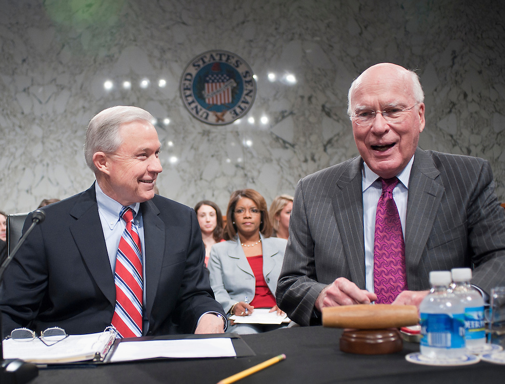 Jul 20, 2010 - Washington, District of Columbia, U.S., - Senators JEFF SESSIONS (R-AL) and PATRICK LEAHY (D-VT) joke around before the start of the Senate Judiciary Committee meeting on Tuesday. The Committee voted, 13-6, in favor of Solicitor General Kagan's confirmation to the Supreme Court. The vote was largely along party lines except for Senator Graham, (R-S.C.),  who broke ranks with his GOP colleagues by supporting her. The full Senate is expected to take up Kagan's nomination in early August..(Credit Image: © Pete Marovich/ZUMA Press)
