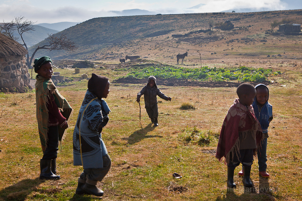 10 May 2011, Ha Tsekana Village, Semonkong Community Council, Maseru District, Lesotho. Children at play in one of the more remote villages that are a common characteristic of Lesotho. At over 2000 metres above sea-level, life here is tough, marked by severe winters and short planting seasons.