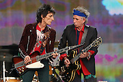 LONDON, ENGLAND - JULY 06:  Ronnie Wood and Keith Richards of The Rolling Stones perform live on stage during day two of British Summer Time Hyde Park presented by Barclaycard at Hyde Park on July 6, 2013 in London, England.  (Photo by Simone Joyner)