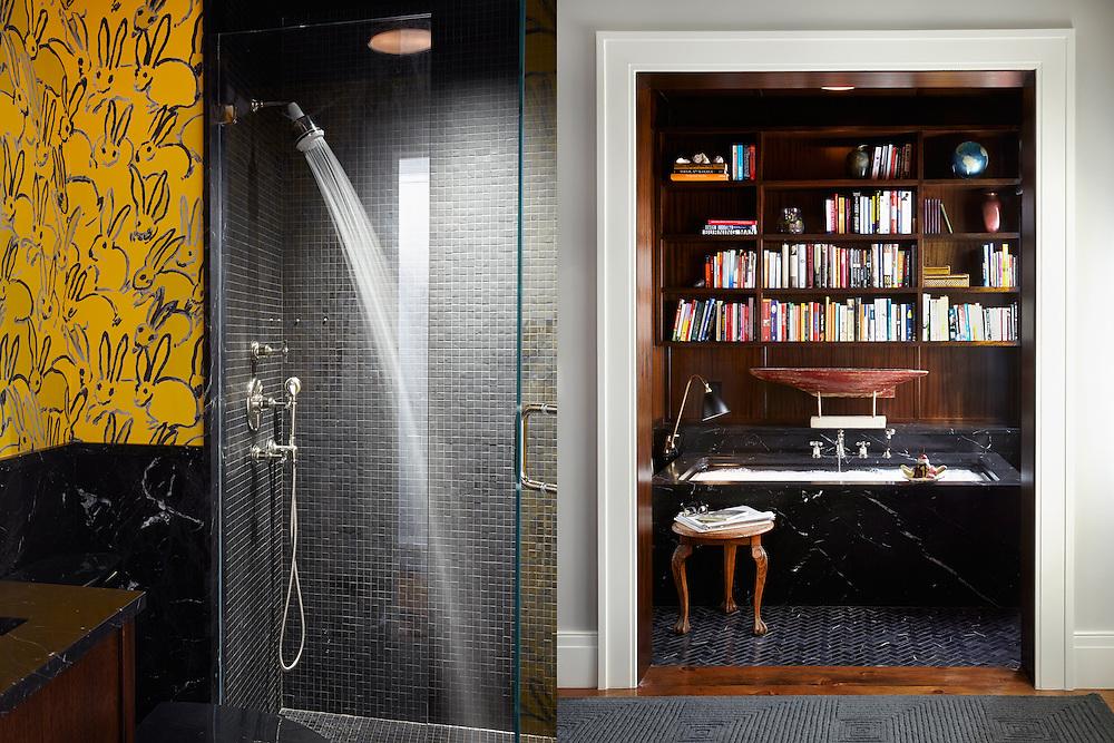 Brooklyn Heights Town House. Bathroom shower bathtub in den. Architect: CWB Architects. Designer: CWB Architects