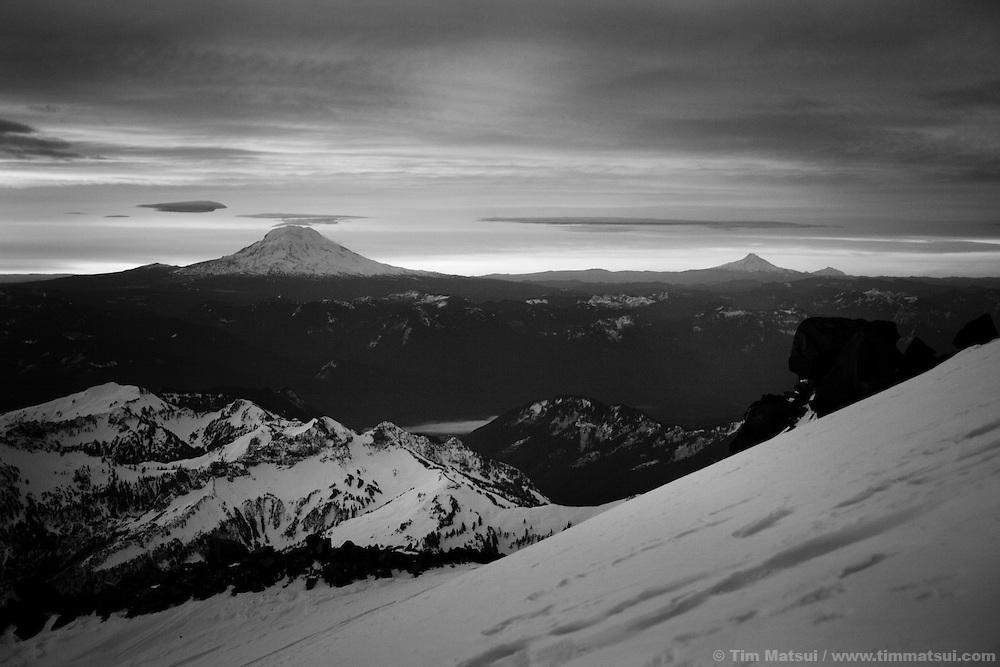 Winter attempt to climb Mt. Rainier via the Gibraltar Ledges route.