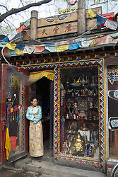 Small Tibetan style craft shop in Nanluoguxiang hutong in Beijing China