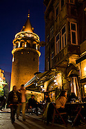 Galata Tower and surrounding cafes, Istanbul, Turkey