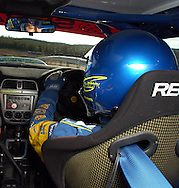 Cody Crocker in action, view from inside car shot with remote camera.Motorsport-Rally/2003 Rally of Canberra .Canberra, ACT, Australia.28th April 2003.(C) Joel Strickland Photographics