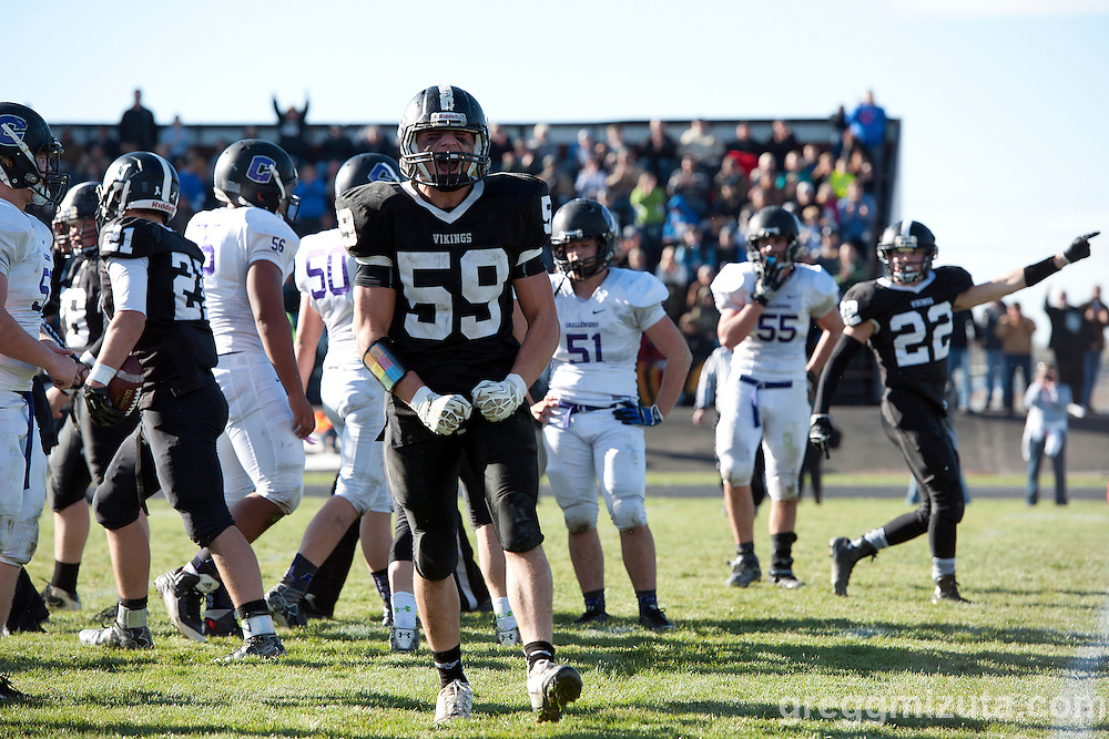 Garret DeVos is fired up over a Viking defensive fumble recovery (L to R: Rudy Gomez, Josh Buchholz, Moses Jackson, Brandon Winter, Garret DeVos, Matt Miller, Nash O'Hara, Jacob Delong) during the Vale - Cascade Christian 3A quarterfinal playoff game at Frank Hawley Stadium, Vale, Oregon, Saturday, November 14, 2015. Vale won 48-38.