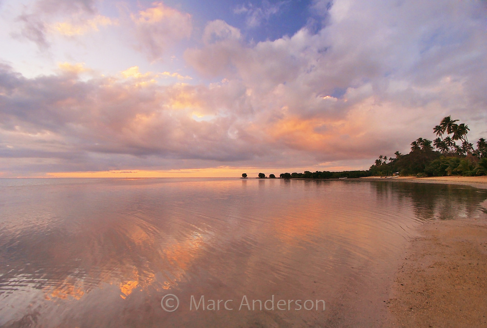 A beautiful sunset on a tropical island in Vanua Levu, Fiji.