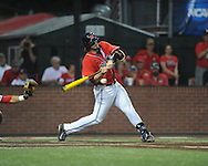 Mississippi's Will Allen (30) drives in a run vs. Louisiana-Lafayette in an NCAA Super Regional game in Lafayette, La. on Sunday, June 8, 2014. Mississippi won 5-2.