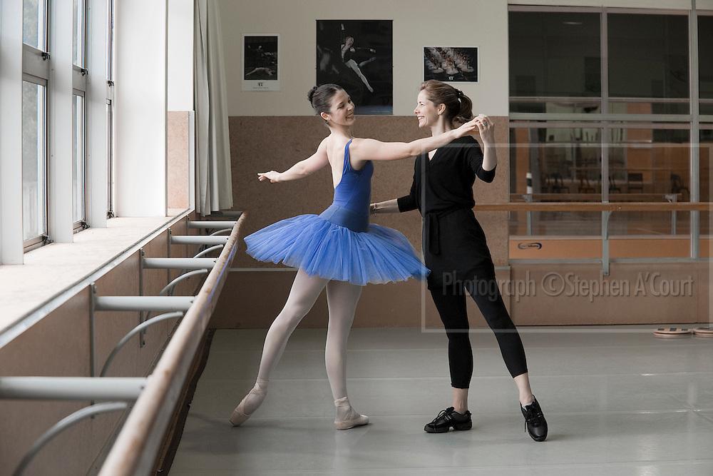 Acclaimed British ballerina Darcey Bussell coaches NZ School of Dance student Laura Jones, on 2 June 2012.