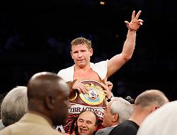June 2, 2007; Atlantic City, NJ, USA;  The new WBO Heavyweight Champion Sultan Ibragimov celebrates his 12 round unanimous decision win over Shannon Briggs at Boardwalk Hall in Atlantic City, NJ.