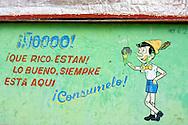Pinocchio ice cream stand sign in Bahia Honda, Artemisa, Cuba.