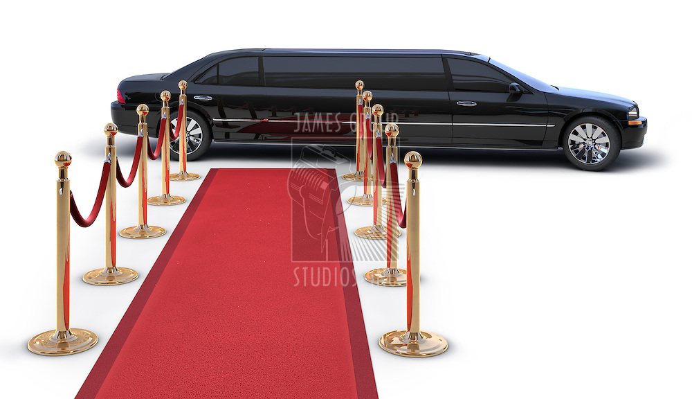 A LimousinePulling up to a red carpet runway on white
