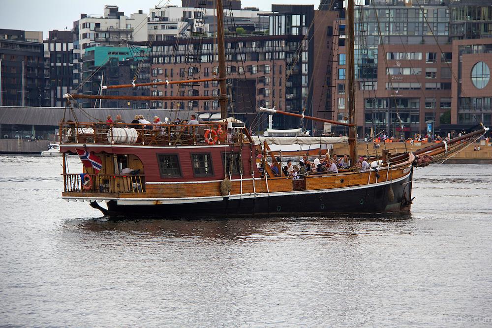 Europe, Norway, Oslo. Pirate schooner harbor cruise in port of Oslo, Norway.