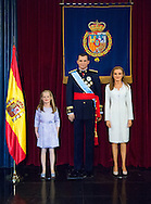 12-10-2014 - MADRID  Wax figures of Spanish King Felipe VI (2-R), Queen Letizia (R) and their daughter Princess Leonor of Asturias (3-R) are unveiled at the Wax Museum in Madrid, Spain, 12 October 2014. They were placed next to the wax figures of King Juan Carlos I (L) and Queen Sofia ( 2-L) COPYRIGHT ROBIN UTRECHT