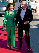 12-6-2015 STOCKHOLM -  Queen Silvia and King King Carl XVI Gustaf arrive at the S-S Stockholm to sail to Vaxholm Castle for a dinner before the wedding of Prince Carl Philip and Sofia Hellqvist . The wedding celebrations will begin on Friday June 12 with a private dinner for invited guests. COPYRIGHT ROBIN UTRECHT