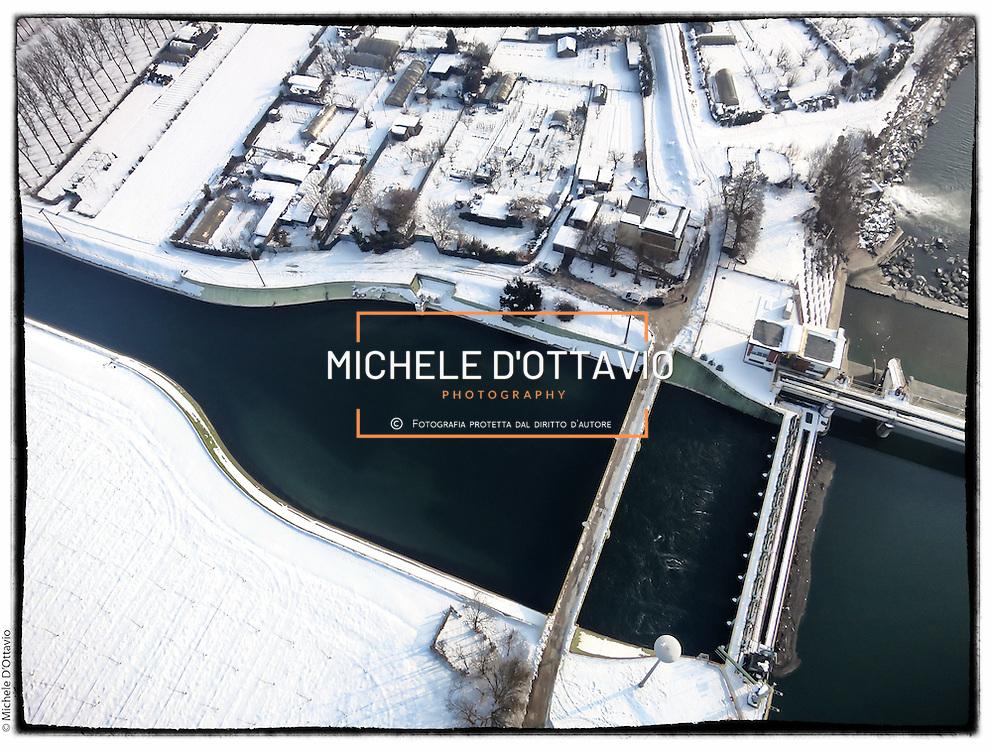 Diga e canalizzazione di Iride Energia (ex AEM) delle acque del fiume PO a La Loggia