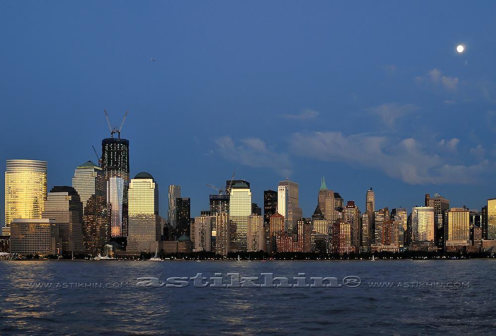 Reflection of sunset in Manhattan windows.