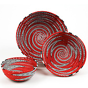 Group Bowls; Red with black and white zigzag