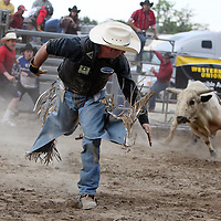 Douglas Tameirao runs from his bull after falling off during the Barretos na America rodeo at the Brockton Fairgrounds, Saturday,  May 23, 2009.