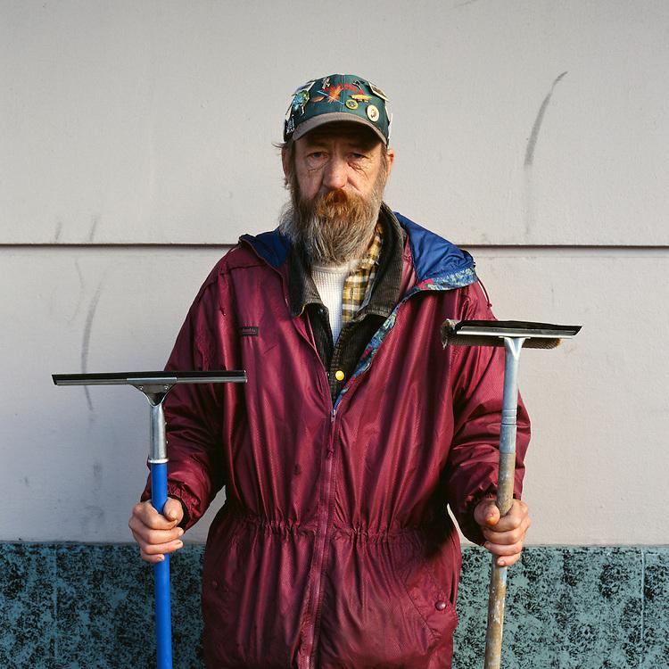 ANCHORAGE, ALASKA, - 2006: Michael the window washer.