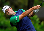 Ben Martin tees off on the eighth hole during the second round of the RBC Heritage golf tournament in Hilton Head Island, S.C., Saturday, April 19, 2014. Play was suspended during the second round Friday due to weather and resumed today.  (AP Photo/Stephen B. Morton)