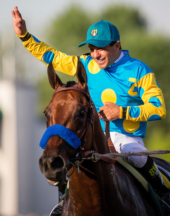 May 02, 2015: Victor Espinoza celebrates a victory aboard American Pharaoh  wins the Kentucky Derby at Churchill Downs Louisville Ky. Alex Evers/ESW/CSM