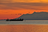 Silhouette of a Tug and Ship at Dusk in the Anchorage Harbor. Image taken with a Nikon D300 and 18-200 mm VR lens (ISO 200, 200 mm, f/11, 1/50 sec). Nikonians ANPAT-9